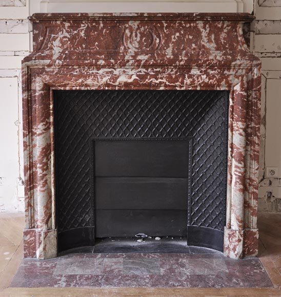 Antique Louis XIV style fireplace with acroterion made out of Red from the Languedoc marble - Reference 2679