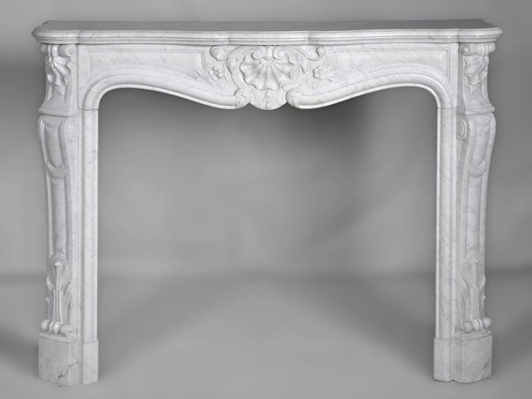 Antique Louis XV style fireplace with flowered shells decor made out of white Carrare marble - Reference 2688
