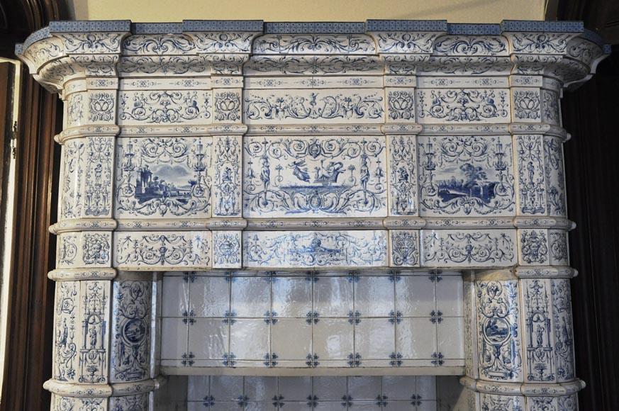 Large antique stove with bleu decor enamels on white background-1