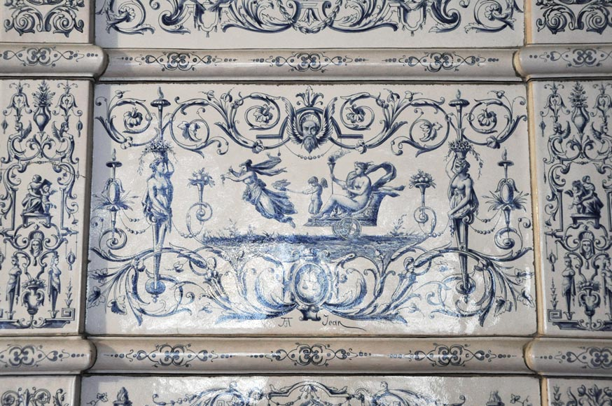 Large antique stove with bleu decor enamels on white background-2
