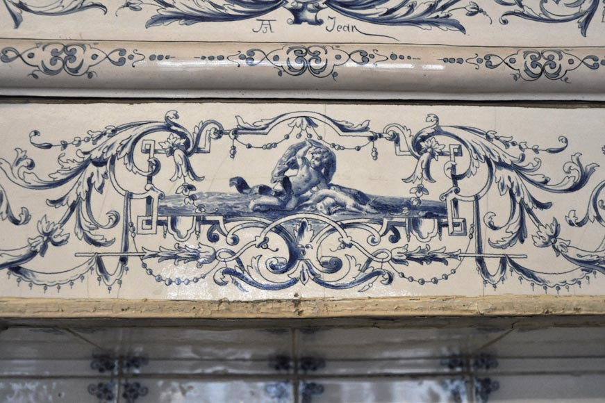 Large antique stove with bleu decor enamels on white background-3