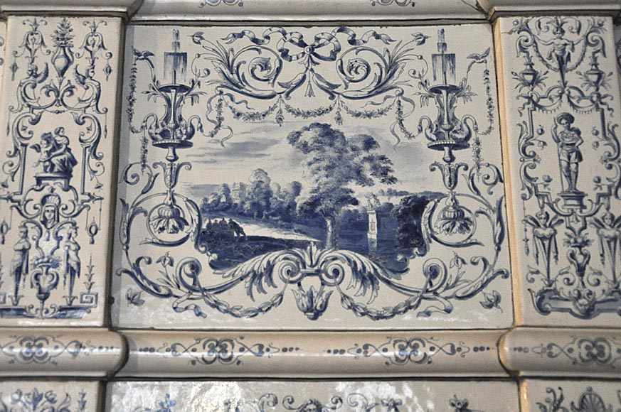 Large antique stove with bleu decor enamels on white background-5