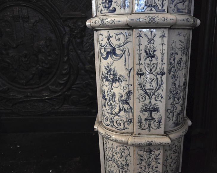 Large antique stove with bleu decor enamels on white background-9