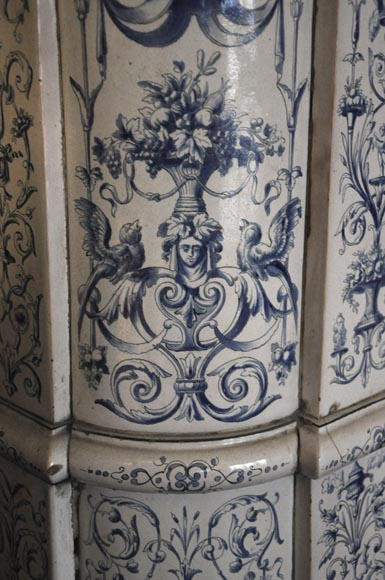 Large antique stove with bleu decor enamels on white background-10