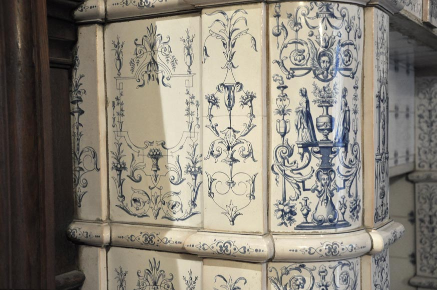 Large antique stove with bleu decor enamels on white background-12