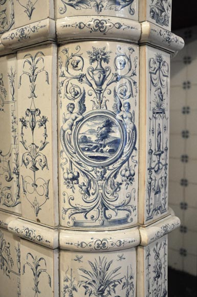 Large antique stove with bleu decor enamels on white background-13