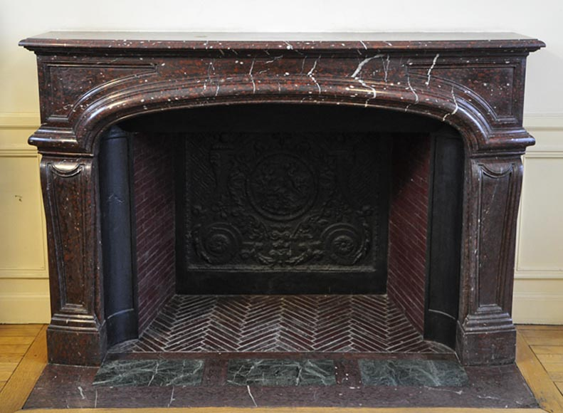 Large antique Louis XIV style fireplace in Red Griotte marble-0