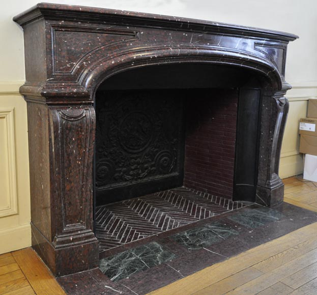 Large antique Louis XIV style fireplace in Red Griotte marble-2