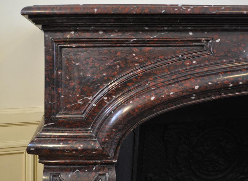 Large antique Louis XIV style fireplace in Red Griotte marble-3