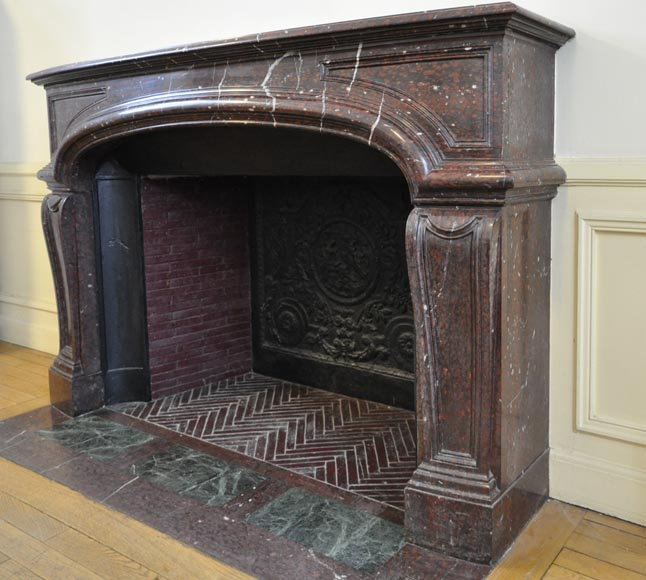 Large antique Louis XIV style fireplace in Red Griotte marble-6