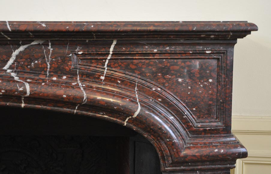 Large antique Louis XIV style fireplace in Red Griotte marble-7