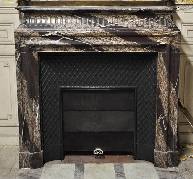 Antique Louis XIV style fireplace with acroterion made out of Rubané Campan marble - Reference 2716