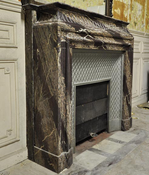 Antique Louis XIV style fireplace with acroterion made out of Rubané Campan marble-2