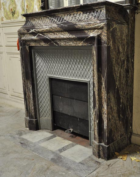 Antique Louis XIV style fireplace with acroterion made out of Rubané Campan marble-5