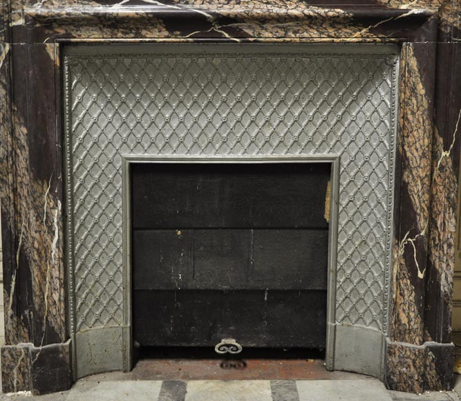 Antique Louis XIV style fireplace with acroterion made out of Rubané Campan marble-9
