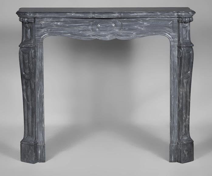 Antique Louis XV style fireplace, Pompadour model, made out of Blue Turquin marble - Reference 2719