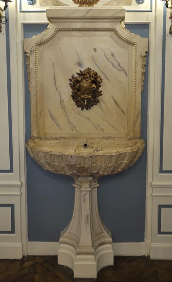 Beautiful antique interior fountain with its boiserie panel and oil on canvas painting-0