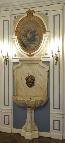 Beautiful antique interior fountain with its boiserie panel and oil on canvas painting-1