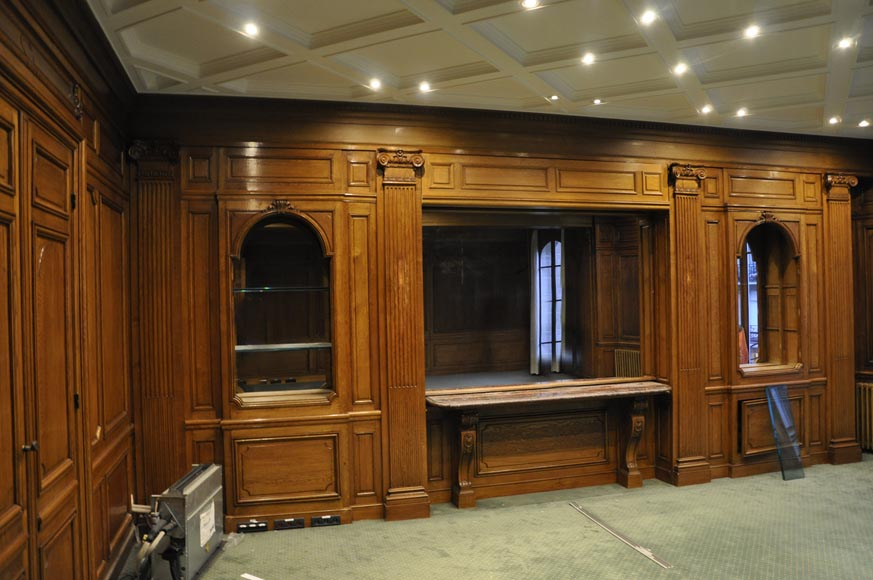 Antique Oak Wood Paneled Room From The 19th Century