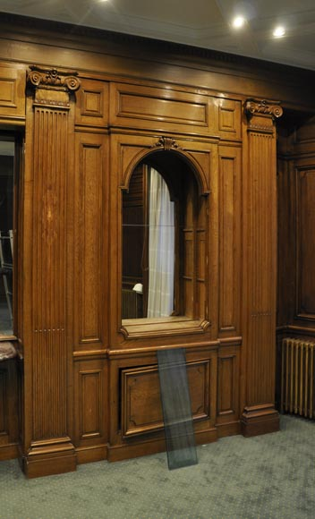 Panelled Room: Antique Oak Wood Paneled Room From The 19th Century