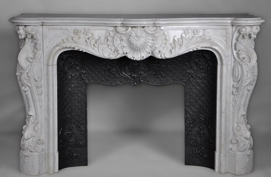Exceptional antique opulent Louis XV style fireplace made out of Carrara marble - Reference 2741