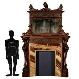 Luigi FRULLINI - Exceptional wood fireplace mantel In sculpted walnut