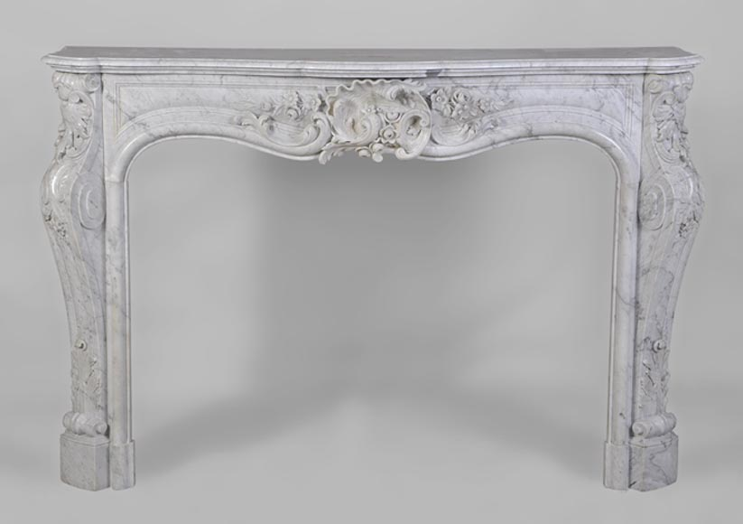 Antique Louis XV style highly carved fireplace in white Carrara marble - Reference 2744