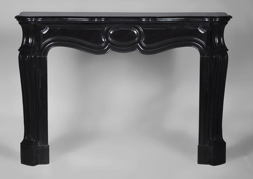 Large antique Pompadour Louis XV style fireplace made out of Black from Belgium marble - Reference 2748