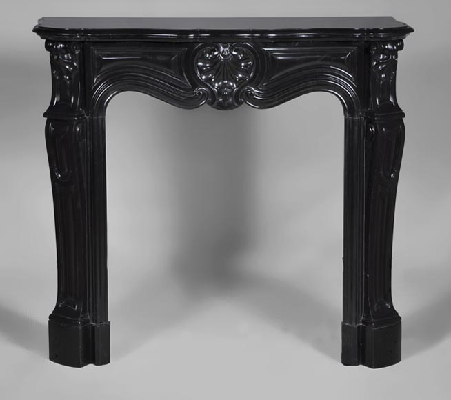 Beautiful small antique Louis XV style fireplace with three shells decor made out of Black from Belgium marble - Reference 2749