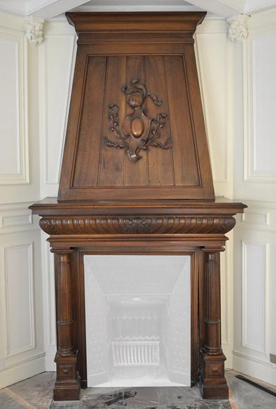 Large antique Neo-Renaissance style fireplace made out of carved walnut with Helm Knight decor-0