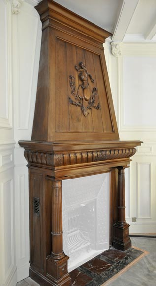 Large antique Neo-Renaissance style fireplace made out of carved walnut with Helm Knight decor-3