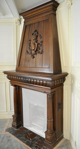 Large antique Neo-Renaissance style fireplace made out of carved walnut with Helm Knight decor-7