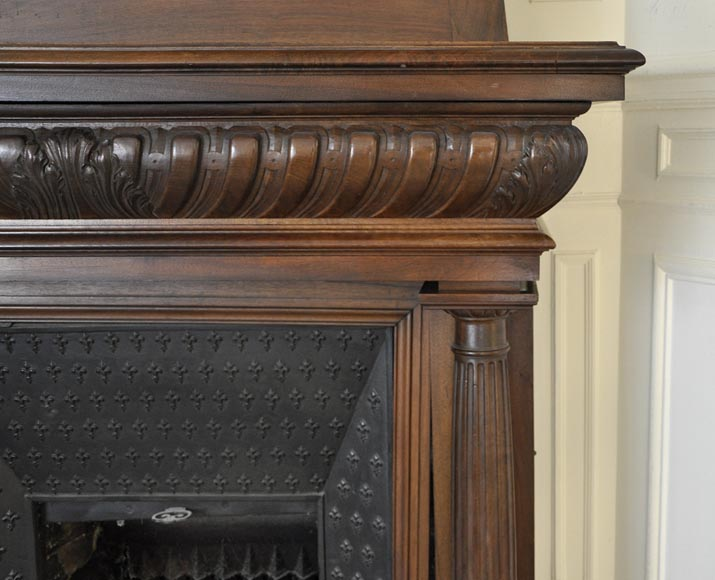 Large antique Neo-Renaissance style fireplace made out of carved walnut with Helm Knight decor-8