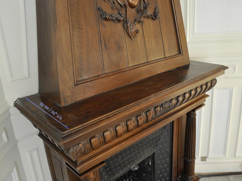 Large antique Neo-Renaissance style fireplace made out of carved walnut with Helm Knight decor-10