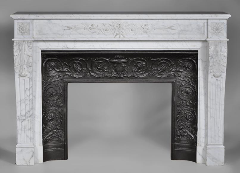 Large Antique Louis Xvi Style Fireplace Made Out Of White Carrara Marble With Reeds And Foliages Decor
