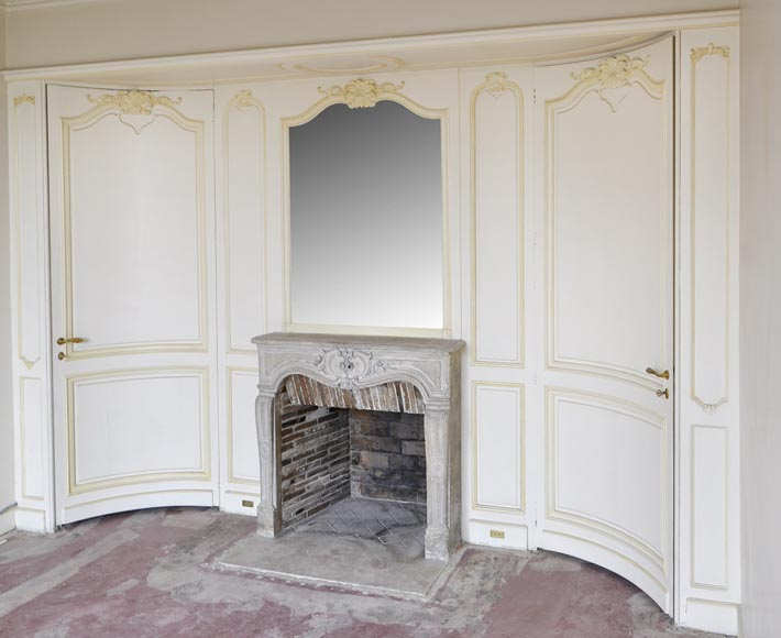 Beautiful Louis XV style paneled room with 18th century stone fireplace-1