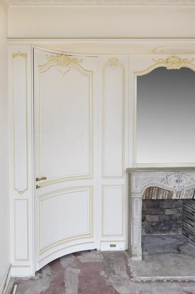 Beautiful Louis XV style paneled room with 18th century stone fireplace-2