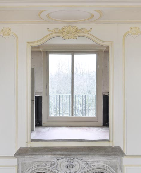 Beautiful Louis XV style paneled room with 18th century stone fireplace-7
