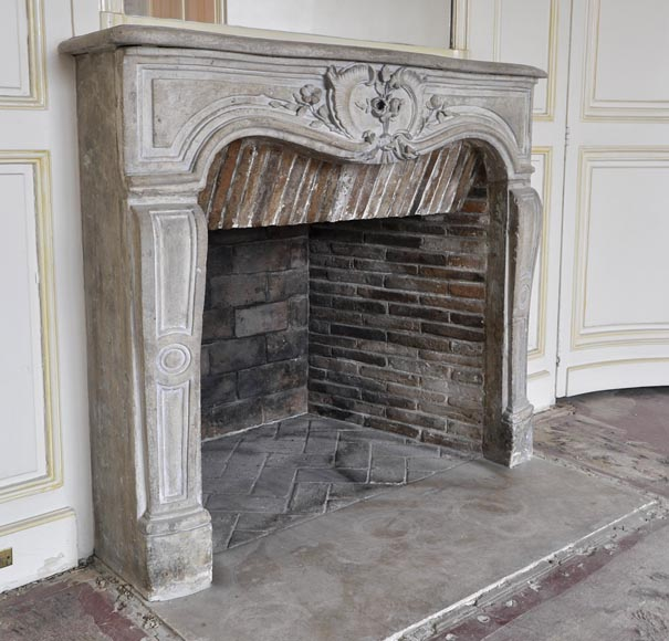 Beautiful Louis XV style paneled room with 18th century stone fireplace-14