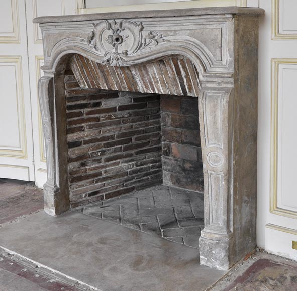 Beautiful Louis XV style paneled room with 18th century stone fireplace-18