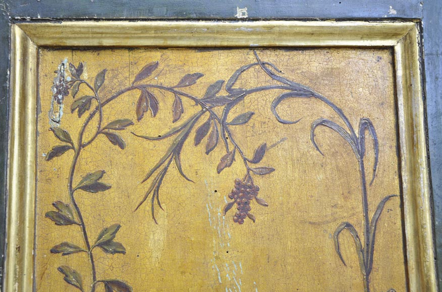 Double door with frame with putti and flowers decor on gold painting background-5