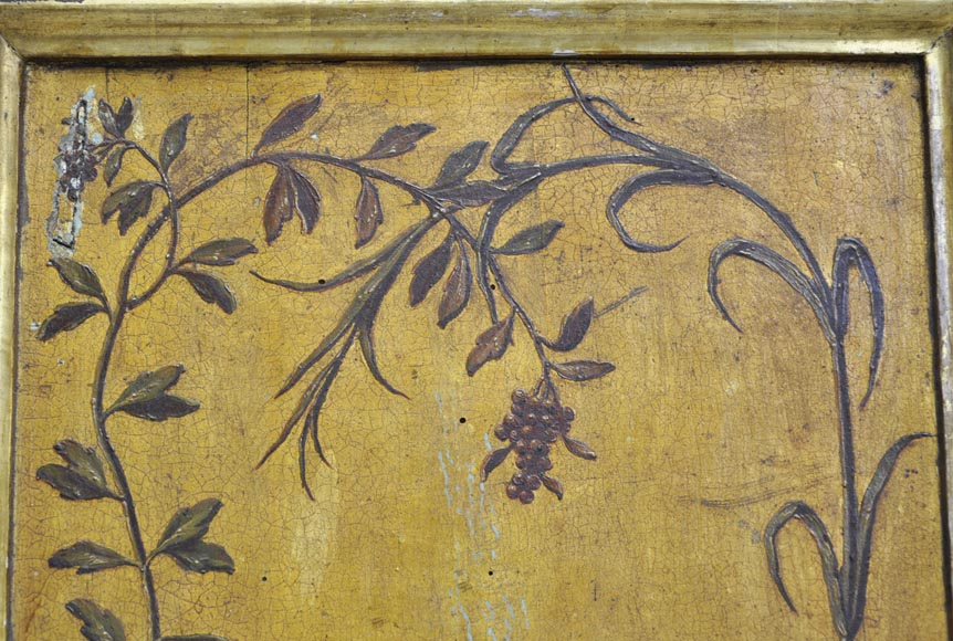 Double door with frame with putti and flowers decor on gold painting background-13