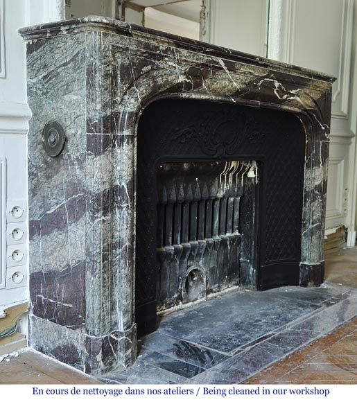 Antique Louis XIV style fireplace in Campan Grand Mélange marble and cast iron insert-2
