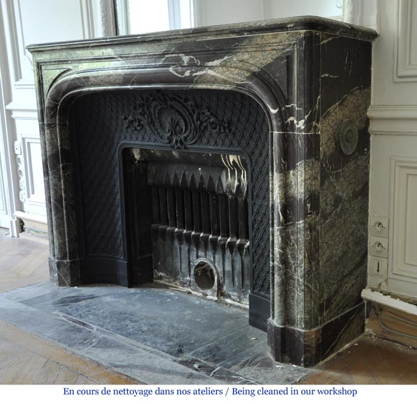 Antique Louis XIV style fireplace in Campan Grand Mélange marble and cast iron insert-5
