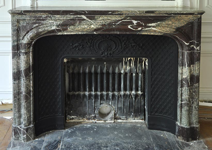 Antique Louis XIV style fireplace in Campan Grand Mélange marble and cast iron insert - Reference 2790