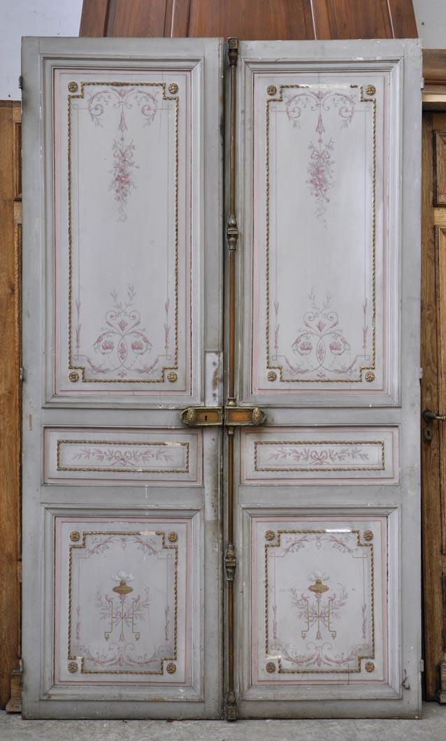 Beautiful antique double door with painted decor on both faces ... - Beautiful Antique Double Door With Painted Decor On Both Faces - Doors
