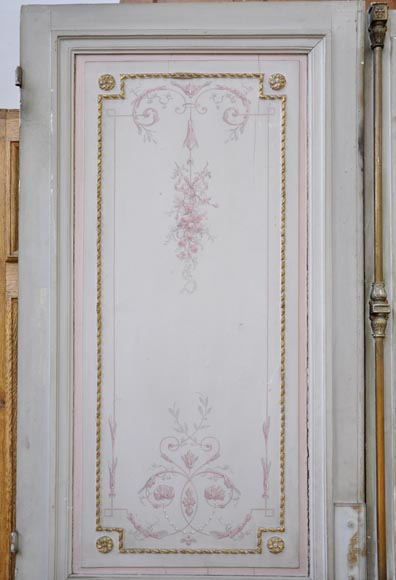 Beautiful Wood Paneled Rooms: Beautiful Antique Double Door With Painted Decor On Both