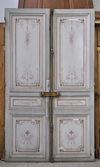 Beautiful antique double door with painted decor on both faces - Reference 2794