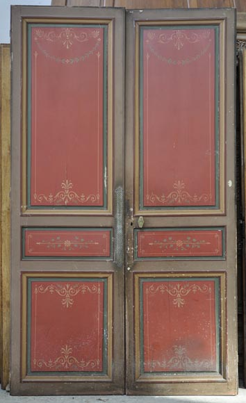 English Paneled Room: Antique Double Door With Painted Floral Decor