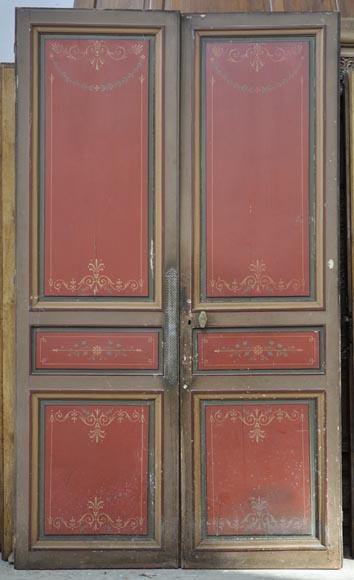 Antique Fireplace Screen >> Antique double door with painted floral decor - Doors